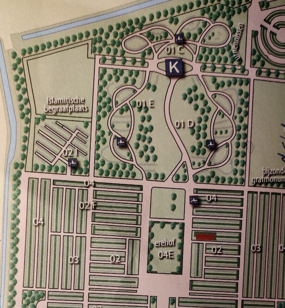 Map Detail Islamic Section Noorderbegraafplaats cemetery Ljouwert Leeuwarden, the Netherlands